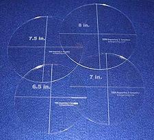 "Buy 4 Piece Circle Set 6.5"", 7"", 7.5"", 8"" 1/8"" Acrylic - Quilting Templates"