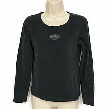 Buy Harley Davidson Womens T-Shirt Harley Logo Black Medium Long Sleeve