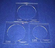 """Buy 3 Piece Inside Circle Set W/rulers 1/4"""" Thick - Long Arm- For 1/4"""" Foot"""