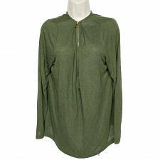 Buy Belle by Kim Gravel Slub Jersey Knit Sweater Top Size Large Green Zip Up