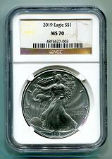 Buy 2019 AMERICAN SILVER EAGLE NGC MS70 CLASSIC BROWN LABEL AS SHOWN PREMIUM QUALITY