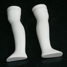 """Buy Vintage Bisque Porcelain Doll Legs 4 1/4"""" long 3 1/4"""" Flange NOS New Old Stock"""