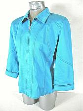 Buy PECK & PECK womens M/L ? 3/4 sleeve green FULL zip fully LINED jacket (A2)P