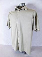 Buy JOHN HENRY mens Large S/S BEIGE TEXTURE STRIPED BUTTON DOWN SHIRT (R)