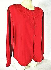 Buy Notations womens Large L/S red EMBROIDERED neckline & hem button down top (F)