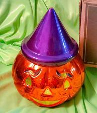 "Buy Christopher Radko Halloween Pumpkin Jack O Lantern Candy Dish 9"" w/ Lid"
