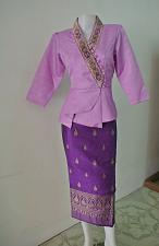 Buy Purple Lao Laos India Silk 3/4 Sleeve Blouse size M sinh wedding ceremony Outfit