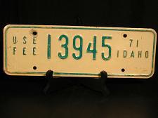 Buy 1971 Idaho License Plate YOM USE FEE 13945 Man Cave Garage Bar Rec Room