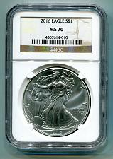 Buy 2016 AMERICAN SILVER EAGLE NGC MS70 CLASSIC BROWN LABEL AS SHOWN PREMIUM QUALITY