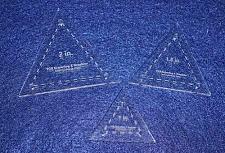 """Buy 3 Piece Quilt Templates Equilateral Triangles. 1"""", 1 1/2"""", 2"""" - Clear- With Guid"""