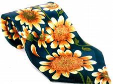Buy Florence Men's Dress Necktie Sunflower Floral Blue Gold Novelty