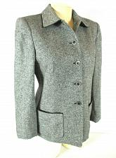 Buy KATE HILL womens Sz 4 L/S gray SILK WOOL blend button up FULLY LINED jacket (B5)