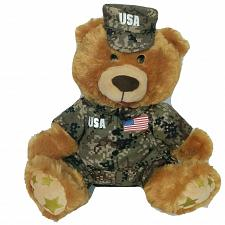 """Buy Gemmy Industries Military Teddy Singing I'll Be Home For Christmas Plush 12.5"""""""