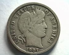 Buy 1907 BARBER DIME VERY FINE+ VF+ NICE ORIGINAL COIN FROM BOBS COINS FAST SHIPMENT