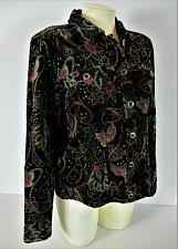 Buy CHRISTOPHER & BANKS womens Medium L/S black green red VELVET button jacket (L)P