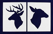 "Buy Buck-Doe Deer Head Stencils - Mylar 2 Pieces of 14 Mil 8"" X 10"" - Painting /Craf"