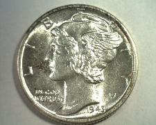 Buy 1943-D MERCURY DIME UNCIRCULATED FULL SPLIT BANDS UNC. FB NICE ORIGINAL COIN