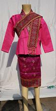 Buy Pink Lao Laos Girl Tradition Dress Clothing 3/4 Seeve Blouse Sinh Skirt Size 10