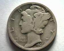 Buy 1931-D MERCURY DIME FINE F NICE ORIGINAL COIN FROM BOBS COINS FAST SHIPMENT