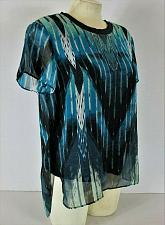 Buy RACHEL ROY womens Medium S/S blue black SHEER OVERLAY stretch liner top B8)