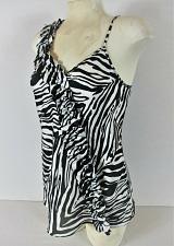Buy EXPRESS DESIGN STUDIO womens Small sleeveless black white RUFFLE tank top (R)P