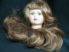 """Buy Vintage Bisque Porcelain Doll Head Flange Style 3 3/4"""" tall Red Hair Green Eyes"""