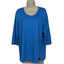 Buy Isaac Mizrahi Live! Essentials Pima Cotton Tulip Hem Tunic Medium Solid Blue