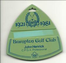 Buy Brampton Golf Club Ontario Canada Golf Bag Tag Fob 1981 Anniversary