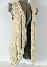 Buy NICK & ME womens Small beige BRAIDED edged Tunic cardigan sweater vest (C5)