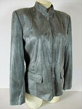Buy ALFRED DUNNER womens Sz 8 L/S gray SOFT FAUX SEUDE full zip lined jacket (F)