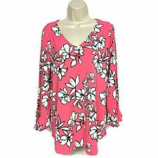 Buy Dennis Basso Printed Caviar Crepe Top with Flounce Sleeves Medium Pink Floral