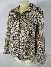 Buy STUDIO WORKS womens Large L/S brown white tan FULL ZIP 2 pocket jacket (B8)
