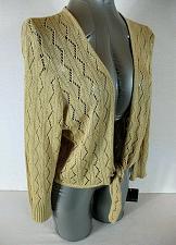 Buy APOSTROPHE womens XL 16-18 L/S gold METALLIC tie front cardigan sweater NWT (C)