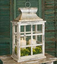 Buy Large Lantern Candle Holder Windowpane Vintage Distressed Farmhouse Rustic New