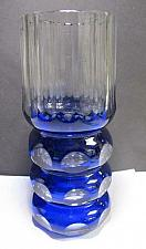 Buy Hand Cut panel Glass blue vase cut to clear