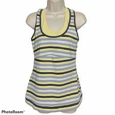 Buy Lucy Athletic Racerback Tank Top Size Medium White Yellow Striped Shelf Bra