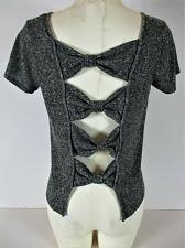 Buy DAYTRIP womens Medium S/S gray black BOW BACK stretch top (E)