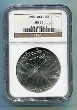 Buy 1995 AMERICAN SILVER EAGLE NGC MS69 BROWN LABEL PREMIUM QUALITY NICE COIN PQ