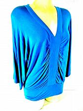 Buy CABLE & GAUGE womens Small 3/4 sleeve blue GATHERED front STRETCH top (J)