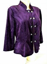 Buy Roz & Ali womens Medium 3/4 sleeve purple VELVET peplum OPEN front jacket (C2)