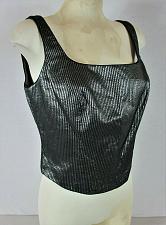 Buy GANTOS womens Sz 12 sleeveless black SILVER METALLIC 3/4 zip back lined top (M)P