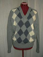 Buy Vintage Mens Argyle Sweater Shetland Wool V Neck Blue Gray Small Hipster