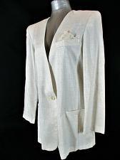 Buy CRISTIN STEVENS womens Sz 14 L/S ivory 1 BUTTON 2 POCKET long jacket (A8)P