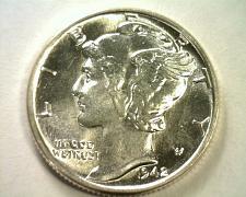Buy 1942 MERCURY DIME CHOICE UNCIRCULATED / GEM CH. UNC. / GEM NICE ORIGINAL COIN