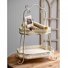 Buy Serving Metal Tray Two Tier Vintage Style Rustic Farmhouse Kitchen Home Decor