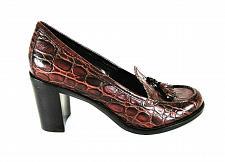 Buy Franco Sarto Ema Brown Leather Croc Print Slip On Heels Shoes Women's 7 M (SW12)