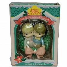 Buy Precious Moments Home For The Holidays Christmas Ornament 1995 Boy Girl Wreath