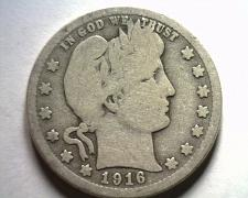 Buy 1916 BARBER QUARTER DOLLAR GOOD / VERY GOOD G/VG NICE ORIGINAL COIN BOBS COINS