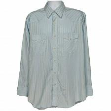 Buy Wrangler Western Pearl Snap Shirt Size XL Blue Striped Long Sleeve