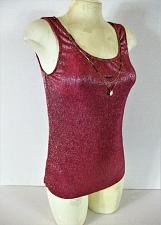 Buy PROMOD womens Small sleeveless magenta NECKLACE metallic stretch tank top NWT B)